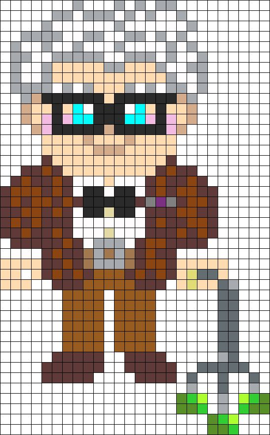 Carl Fredricksen PIxar film UP perler bead pattern