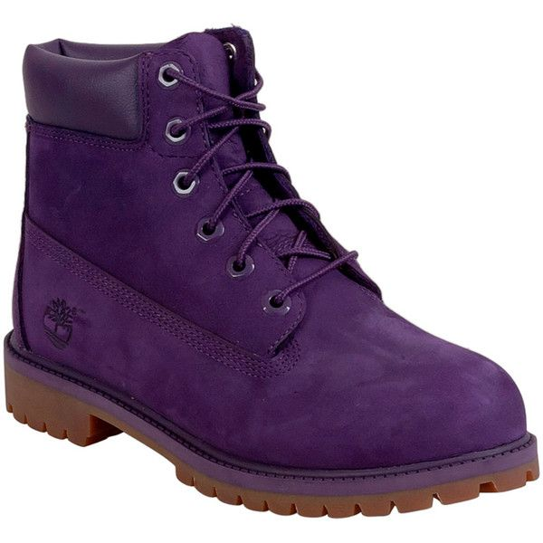 "Timberland Women's 6"" Girls Premium Lace Up Boot ($130) ❤ liked on Polyvore featuring shoes, boots, purple, leather upper boots, laced boots, water proof boots, rubber sole shoes and rugged boots"