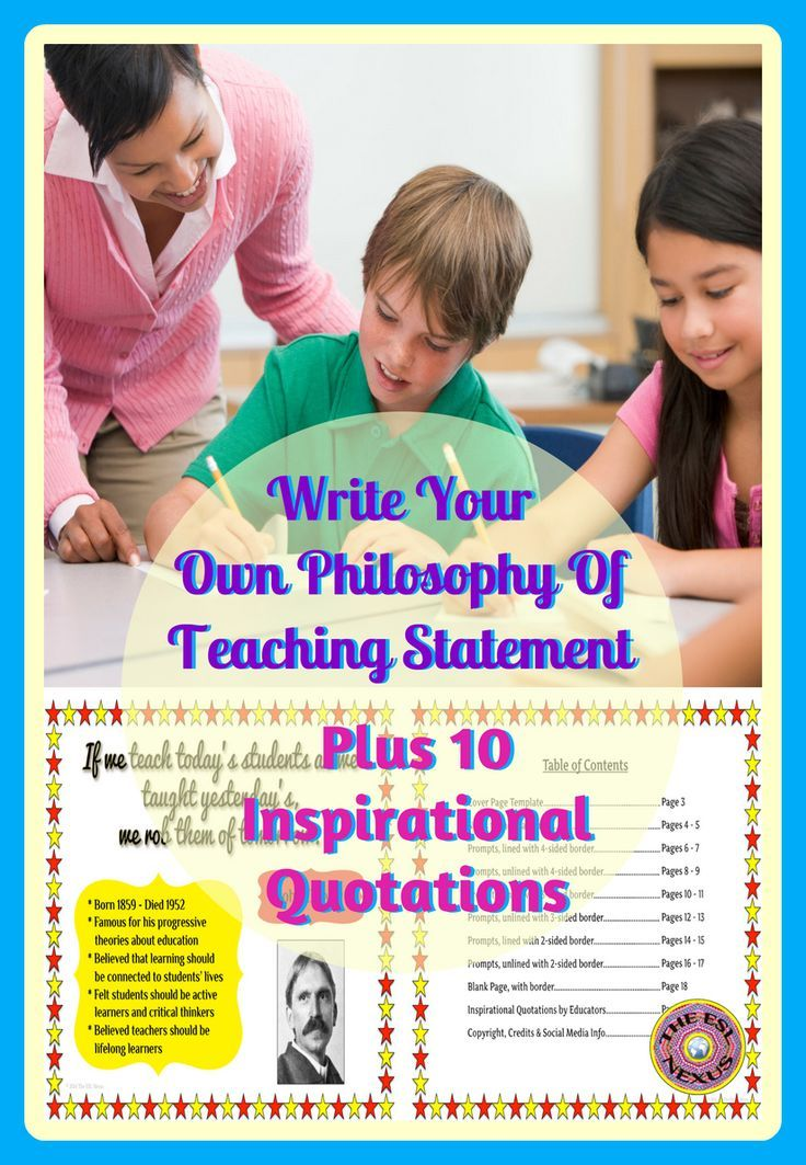 """Use the 20 prompts in this resource to create a personal statement that explains your beliefs & values about education. The 10 8.5"""" x 11"""" posters with inspirational quotes by famous educators & philosophers can help you clarify your thoughts & ideas about teaching & learning. The prompts come in various styles & there is also a cover page plus a blank page for more versatility. When you are finished, you will have your own philosophy of teaching statement to keep in"""