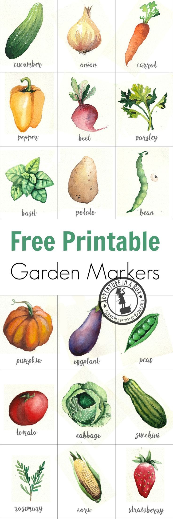 Square foot garden map free printable for garden journal - Free Printable Watercolour Garden Markers