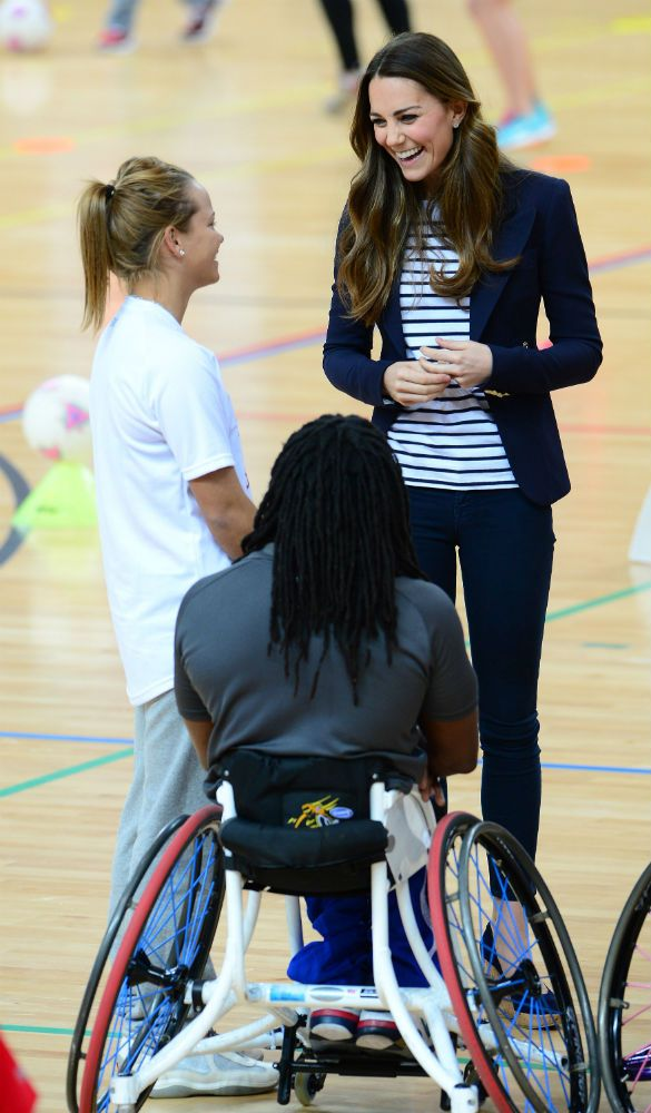 Kate chats with wheelchair basketball players and upcoming sports stars at the event in the Copper Box 18-Oct-13