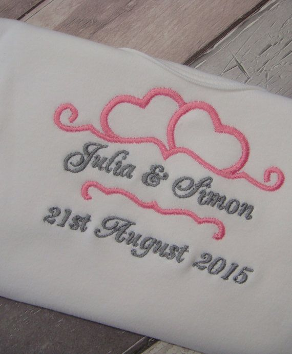 Wedding announcement bride and groom machine embroidery design file in 9 formats with font in 3 sizes Instant download