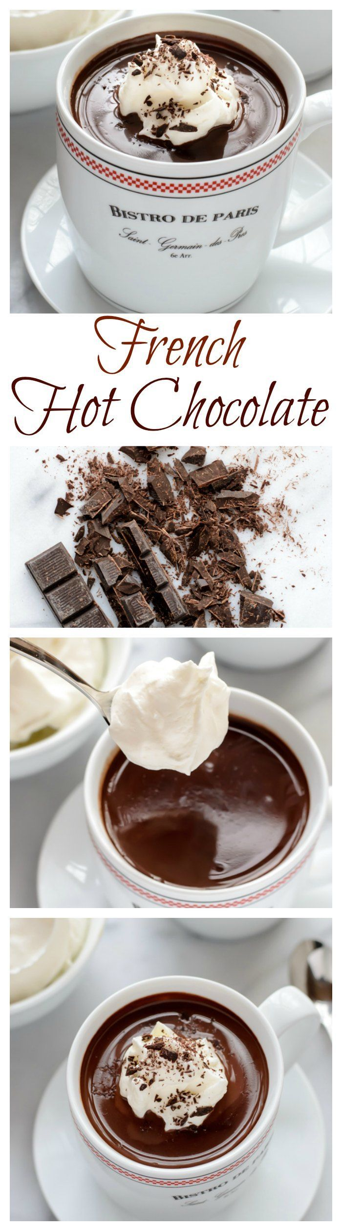 French Hot Chocolate. An easy recipe for dark hot chocolate that tastes just the kind served in Paris cafes!