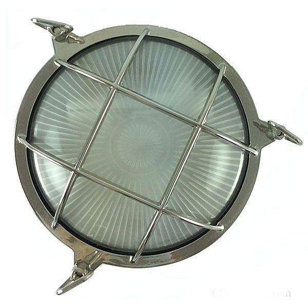 Round Bulkhead Flush Outdoor Light Nickel 210mm
