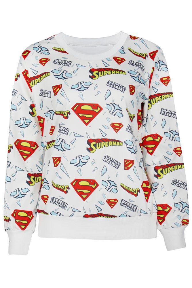Sweatshirts & Hoodies Blanc Superman Logo Impression Sweat Shirt Pas Cher www.modebuy.com @Modebuy #Modebuy #Blanc #Blanc #me #like