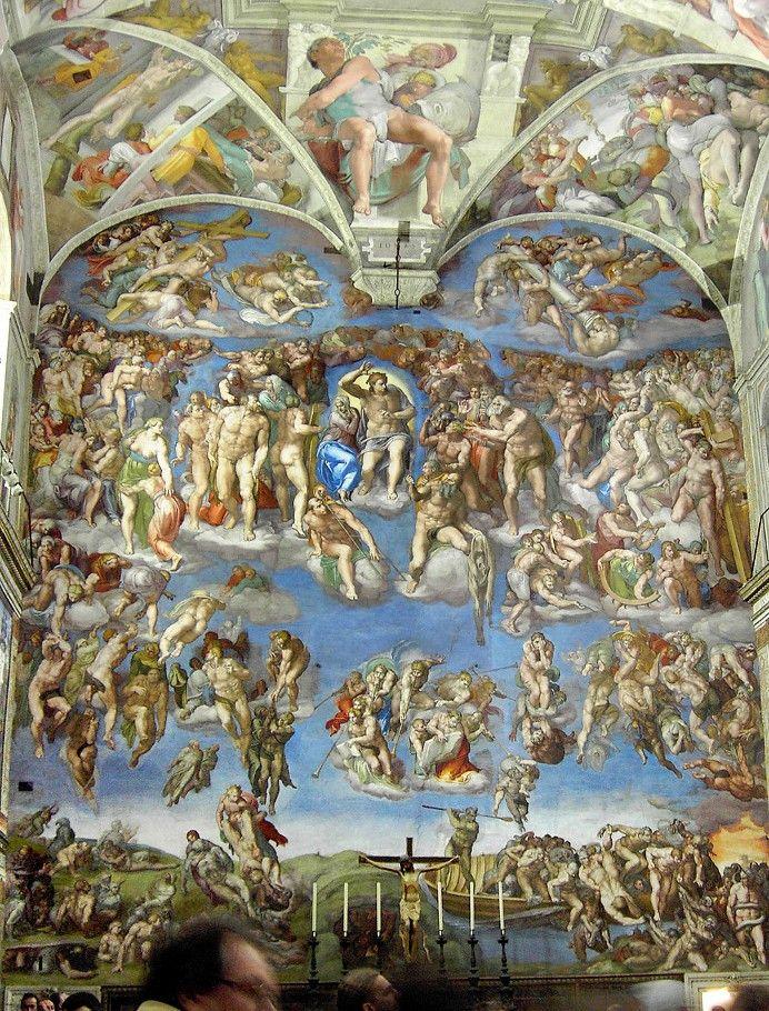 CAPELA SISTINA, VATICANO. Afresco O Juízo Final, na parede atrás do altar, de…