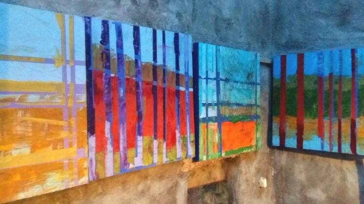 Liz Doyle Fence series 1, 2, 3, 4 4 canvases each 80cm sq www.donegallizdoyle.com  2015
