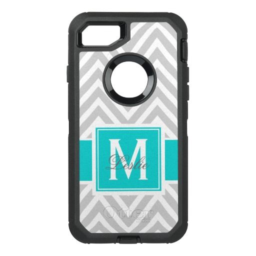 TEAL, GRAY CHEVRON PATTERN OtterBox DEFENDER iPhone 7 CASE