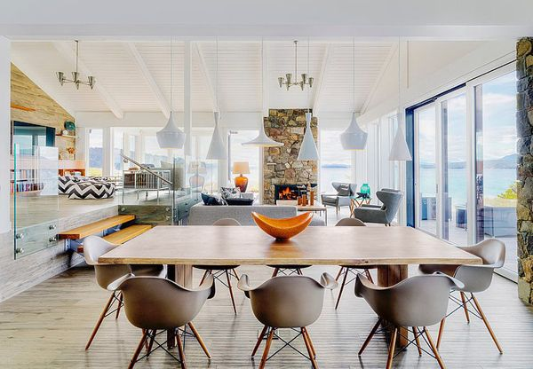 Upper family/tv with sunken kitchen and living area... Mid-century modern beach house retreat on Pender Island