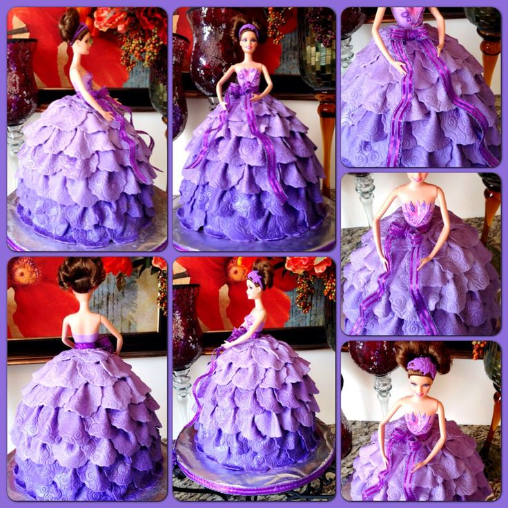 Barbie Doll Cake W Fondant Lavender Ombre Dress Made