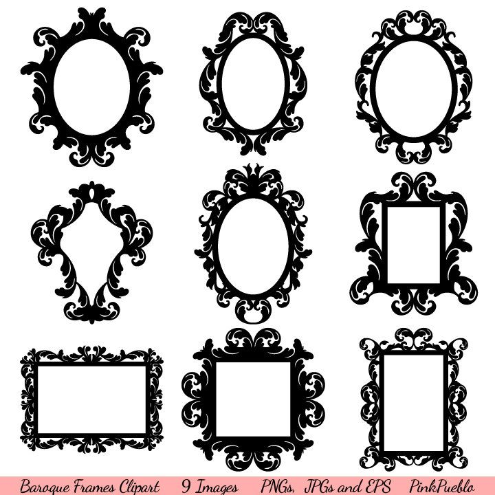 Baroque Frames Clipart Clip Art, Vintage Frames Borders Clipart Clip Art - Commercial and Personal Use. $6.00, via Etsy.