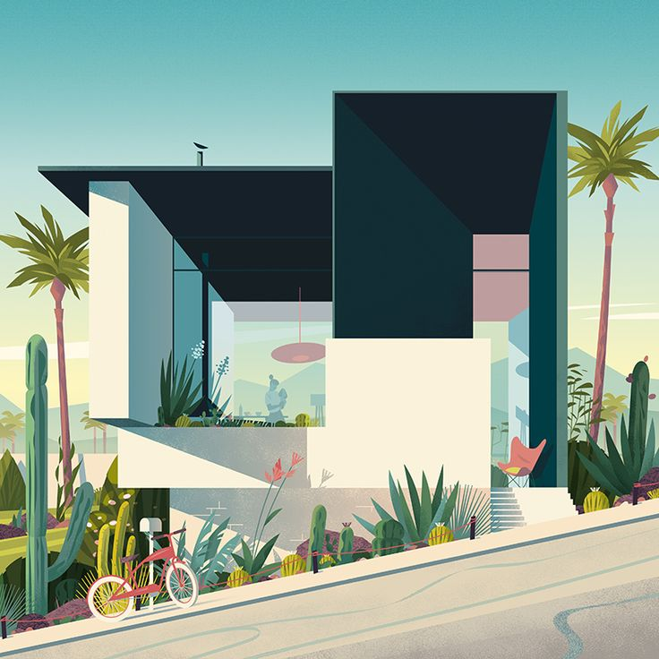 "Creation of a cover illustration for the french cultural review ""Focus"" n°80. Tribute to mid-century modernism in California. August 2016."