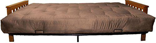 Epic Furnishings Berkeley 10-inch Loft Inner Spring Futon Sofa Sleeper Bed, Queen-size, Mahogany Arm Finish, Microfiber Suede Mocha Brown Upholstery