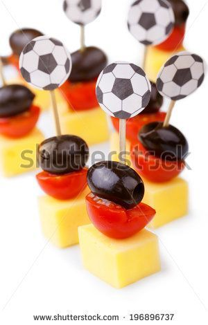 Soccer party snacks in german flag colors black-red-gold on white background by Floydine, via Shutterstock