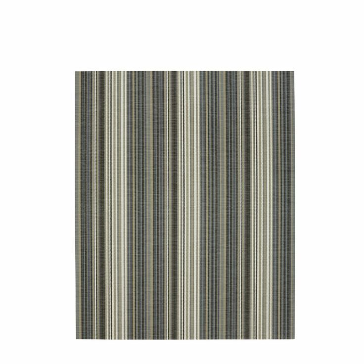 Brown and grey striped rug in Bolon, a woven vinyl. Bolon has the appearance and feel of fabric, is non-slip, highly resistant and thus suitable for high-traffic areas; it is rot-proof (and therefore suitable for outdoor use) and absorbs both  heat and sound; it is light-resistant (does not discolour), waterproof and is easily maintained (washable and brushable),