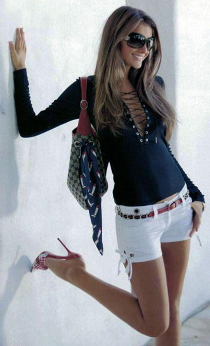 blue long sleeve shirt // white shorts // brown belt // sunnies