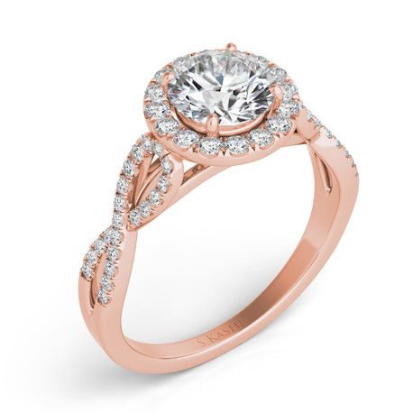 14k rose gold engagement ring | twisted diamond shank| Royund Halo| Halo style engagement ring| style number EN7373-50RG | Andrews Jewelers, Buffalo NY #nicetouchandrew http://andrewsjewelers.com