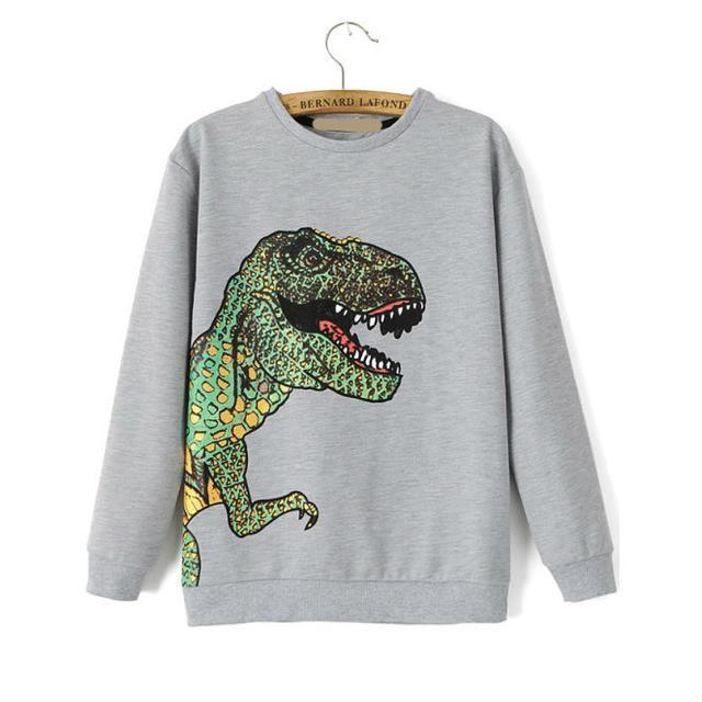 Dinosaur Print Sweatshirt by Romwe