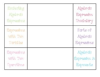 This six flap foldable provides examples for students on evaluating algebraic expressions, parts of algebraic expressions, algebraic vocabulary, and solving expressions with two variables and exponents.  Terms: Coefficient, Variables, Terms, Constants.*To Print, I cut out both pages and line them up front to back -- this has been the easiest and most efficient way I have found to do it.