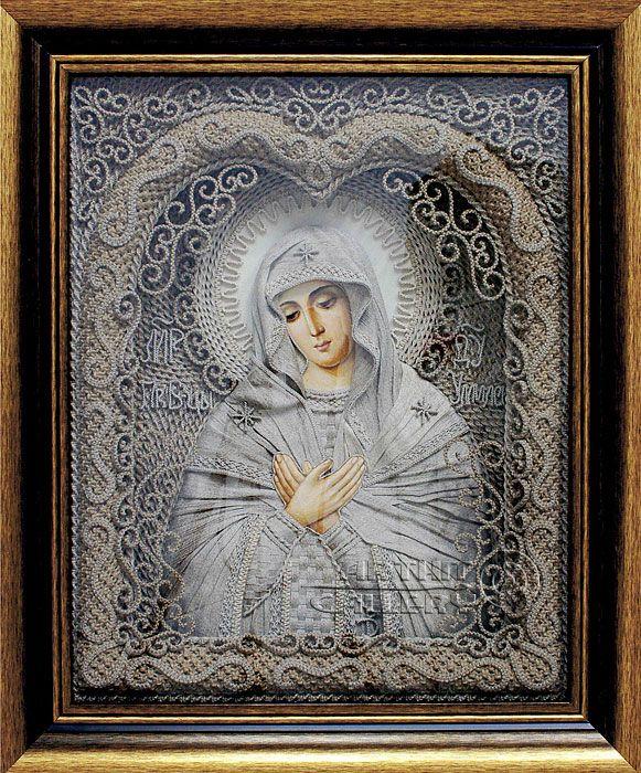 macrame, macrame art, St. Nicolas icons, icons art, religious icons, russian religious icons, icons art. Applied art. The Mother of God of Tenderness. Denshchikov Vladimir