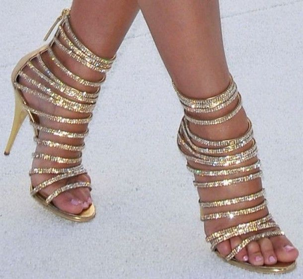 Ladies Caged Strappy Gladiator Sandals Diamante Crystal High Top ...