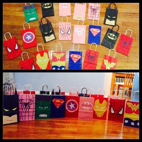 Superhero goodie bags from Little Mrs. Preschool: Girl Superhero Birthday Party