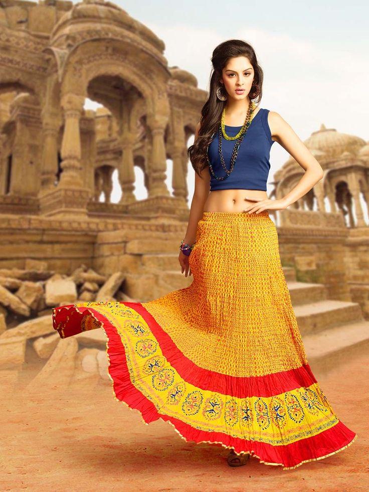 Stylish Long Skirt. Item Code : SKPG222328 http://www.bharatplaza.com/new-arrivals/skirts/stylish-long-skirt-skpg222328.html