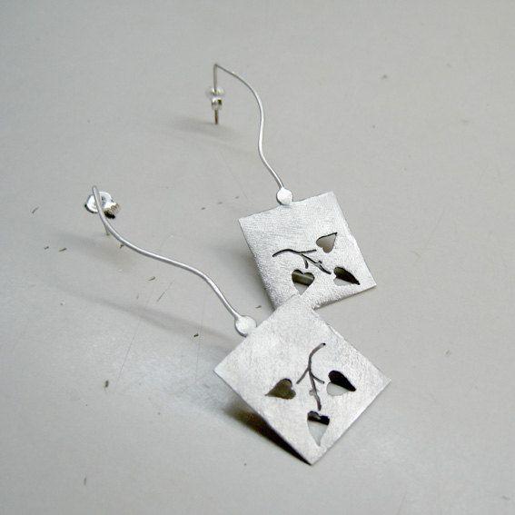 Handmade long stud geometric earrings in sterling by applenamedD, €65.00