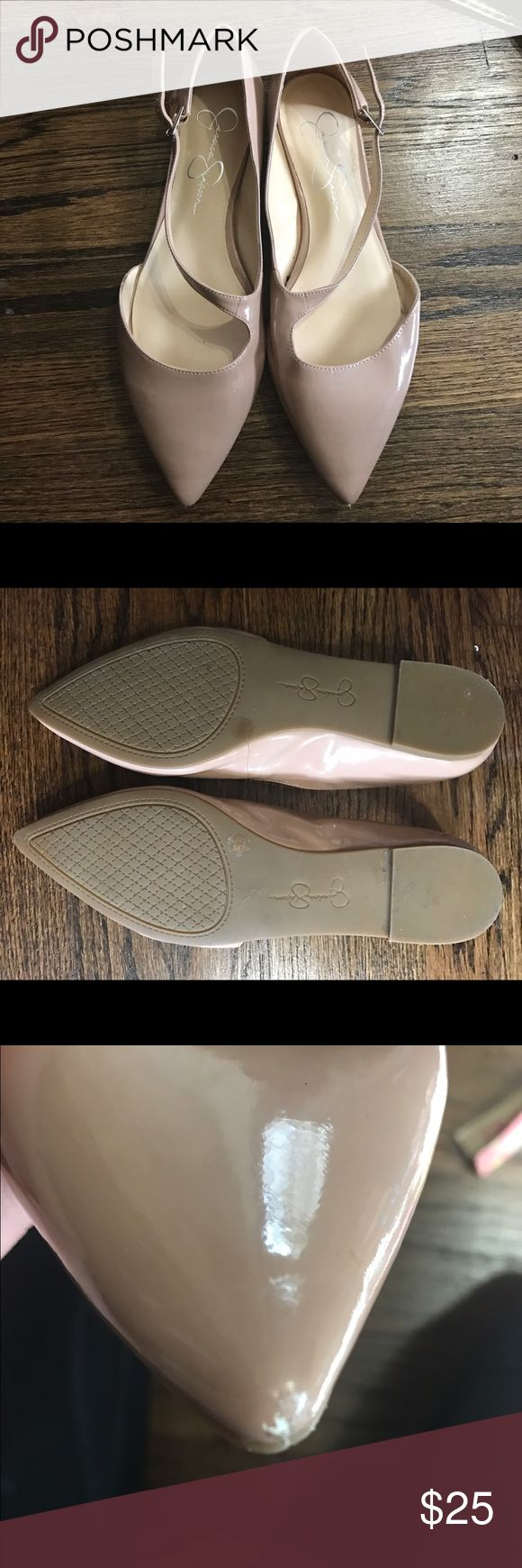 Sz 9 Jessica Simpson nude strappy flats Sz 9 very small scuff on one toe Jessica Simpson Shoes Flats & Loafers
