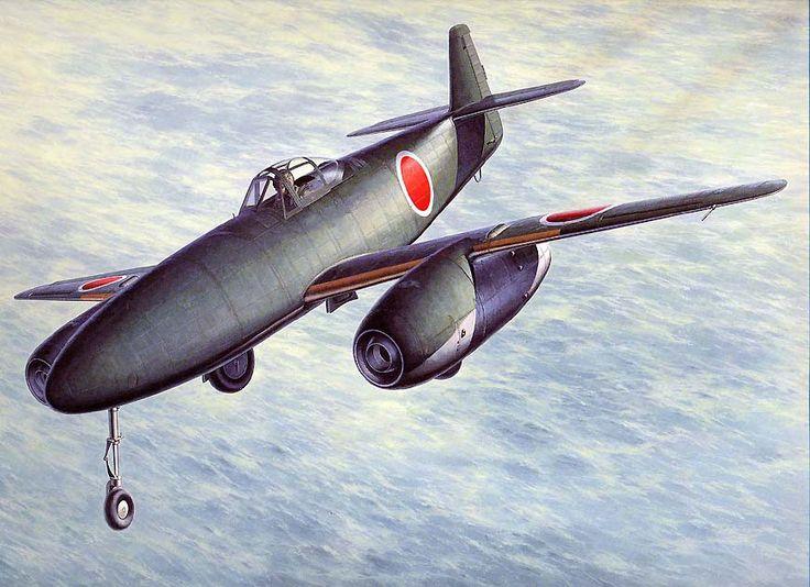 中島 「橘花」 (Kikka) 日本海軍 全幅:10,00m 、全長:9.25m、 総重量:3,950kg、 最大速度:693km/h/1,000m、 発動機:ネ20×2、 推力:475kg/11,000rpm×2、 武装:爆弾500kg、乗員:1名 初飛行:1945年8月7日