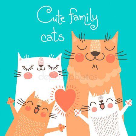 Tarjeta linda con gatos de la familia. – Stock Vector, #SPONSORED, #family, #card, #Cute, …