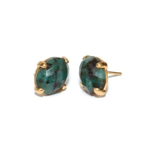 Emerald Studs Gold
