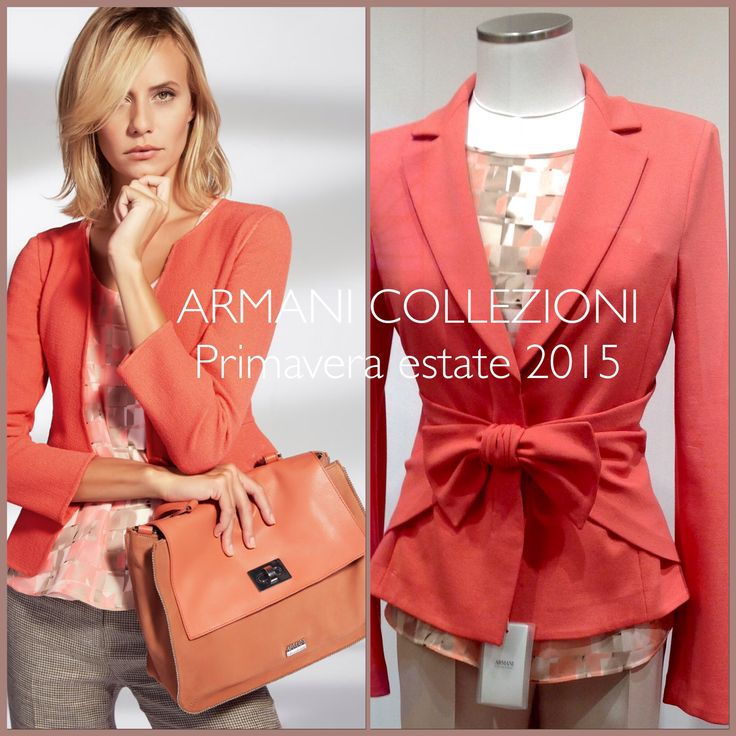 #Armani Outfit- The #beautyful coral jersey #jacket with bow , the roundneck patterned silk #blouse with the same colour and  the sandy colour #trousers.#SS15collection. Available at www.lanamoda.it