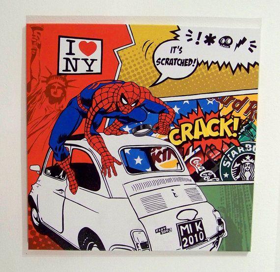 canvas spiderman fiat 500 pop art tela dipinta a mano da popcomicshop spiderman marvel i love new york
