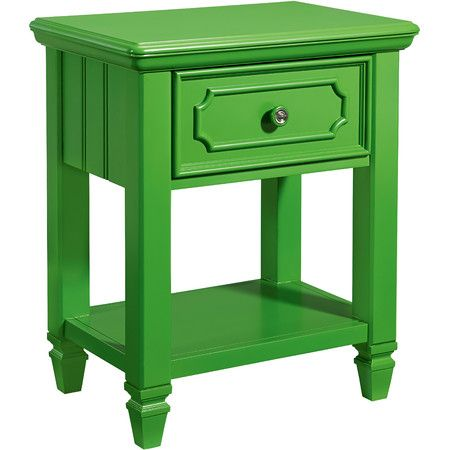 A colorful addition to your master suite or guest room, this lovely green nightstand is perfect paired with simple white or cream bedding.  ...