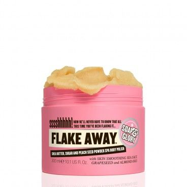 <><><> WHITELISTED!  100% CRUELTY FREE! <><><> Soap & Glory - FLAKE AWAY™ Body Polish: A superhero strength skin smoothing body polish with shea butter, sweet almond oil, peach seed powder, sea salt and sugar. Transforms your scaly legs from reptilian to radiant.