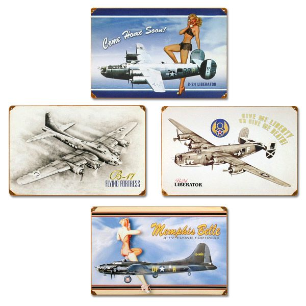 Vintage Bomber Planes Set Metal Sign adds unique decor to your home or business. Every Bomber Ad collector would love this unusual gift. All Bomber Planes Set Tin Signs are pre-drilled and ready to hang.