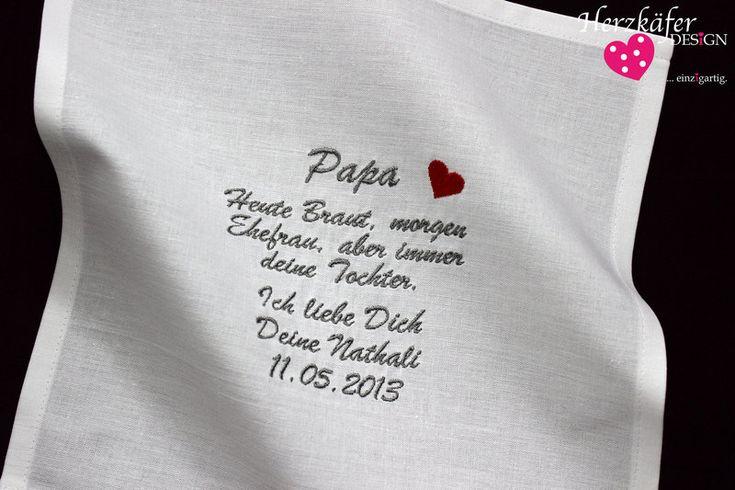 HOCHZEIT+♥+Besticktes+Taschentuch+♥+Freudentränen+von+Herzkäfer+WEDDiNG+auf+DaWanda.com