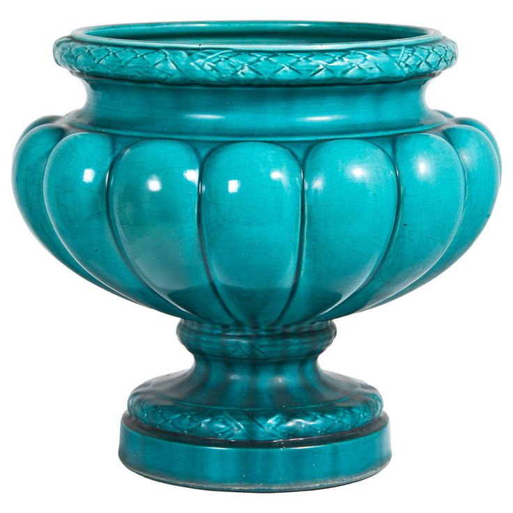 Large Turquoise Majolica Planter France or England, 1880