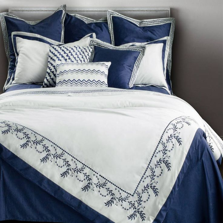 100% Cotton Bedding Set White Embroidered Duvet Cover Set Home textiles King Queen Size Mediterranean Style 4pcs Blue Bed sheet