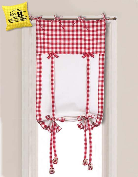 Tenda finestra country chic della collezione Gufetti in versione a quadretti bianca e rossa
