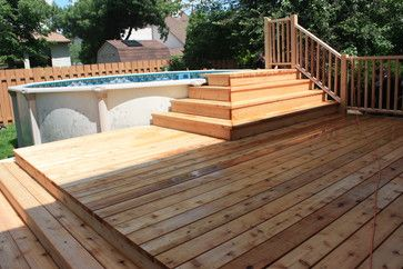 above ground pools with decks and benches - Google Search
