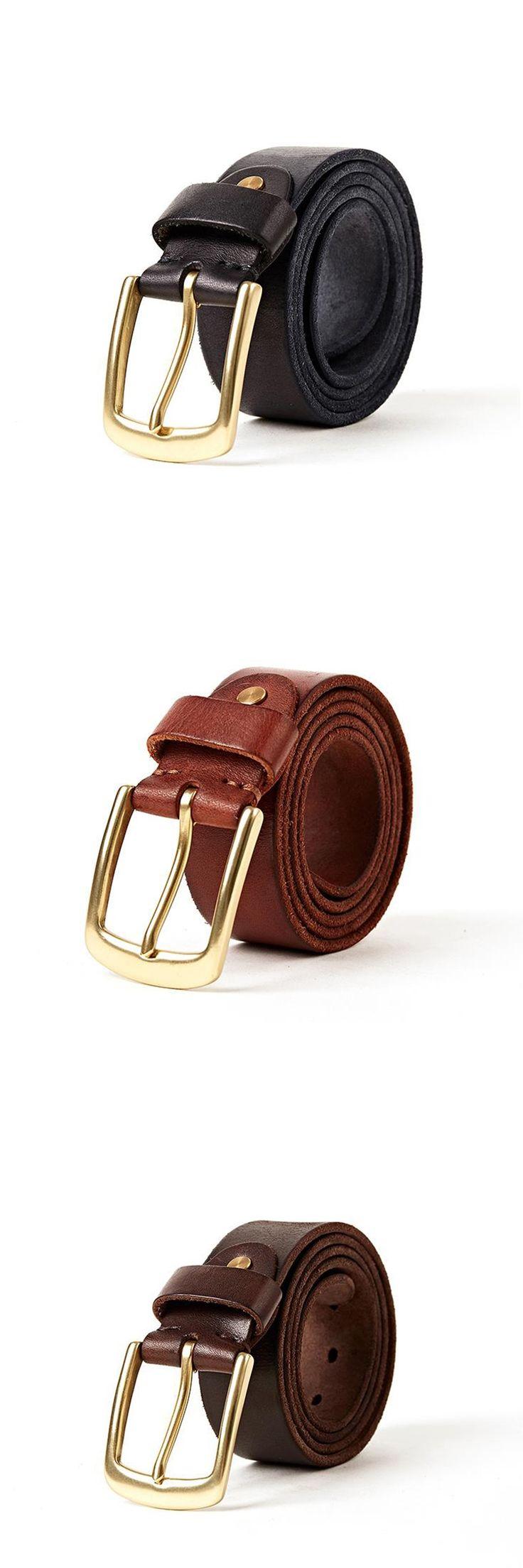 Vintage leather belt men metrosexual man pure copper buckle belt width pure head layer cowhide belt