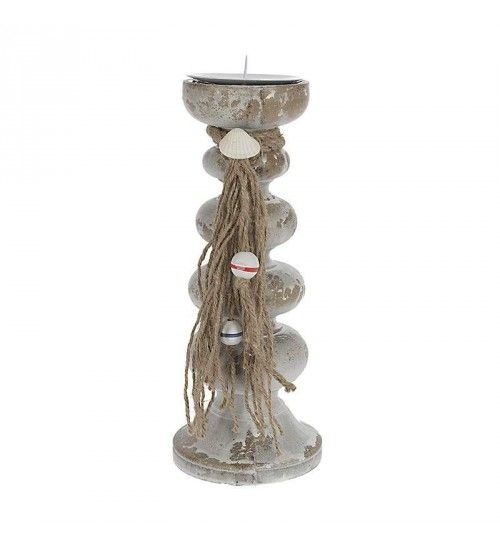 WOODEN CANDLE HOLDER IN BEIGE_WHITE  COLOR 11X11X29