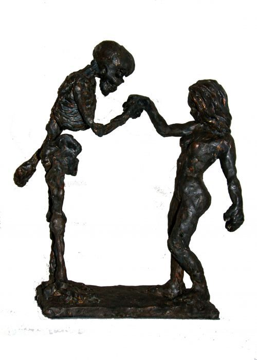 Bronze Allegorical #sculpture by #sculptor Helle Rask Crawford titled: 'Handkiss (Bronze skeleton and Young Girl , life and Death Sculpture/st)' #art