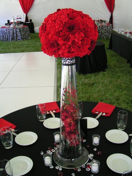Classic Formal Hollywood Glam Modern Romantic Burgundy Red Centerpiece Centerpieces Country Nevada Orchid Outdoor Reception Rose Summer Tulip Wedding Flowers Photos & Pictures - WeddingWire.com