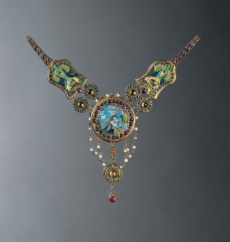 Louis Comfort Tiffany Necklace, c. 1903–6. Peacock and flamingo Enamel, opal, amethyst, ruby, sapphire, demantoid garnet, emerald, chrysoberyl, pearl, gold Louis Comfort Tiffany, American, 1848–1933