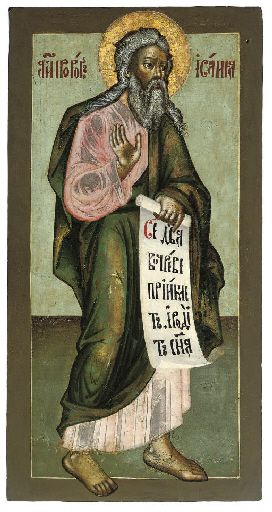 THE PROPHET ISAIAH -  RUSSIAN, 18TH CENTURY -  The aged prophet shown in three quarter view, his right hand raised in speech, carrying a scroll inscribed with his prophecy, his face rendered with contrasting shades, his himation painted bright pink, the rest of the composition dominated by tones of green 29½ x 15 in. (74.9 x 38 cm)