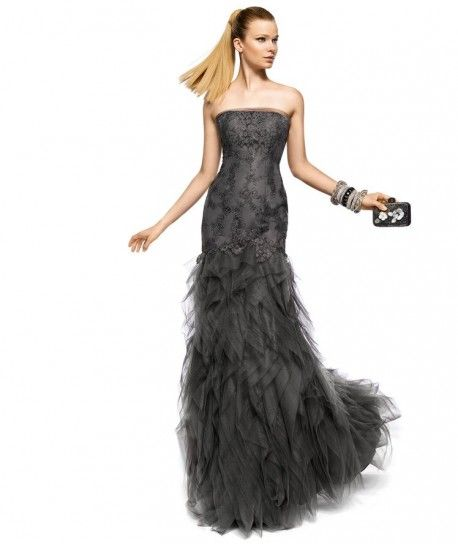 Long Formal Dark Grey Dress