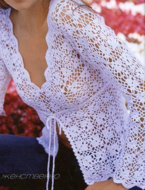 Ажурная блуза на шнуровке
